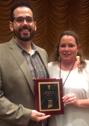 Dr. William Cooke and his Office Manager, Jeanni McCarty, of Foundations Family Medicine following last week's award.